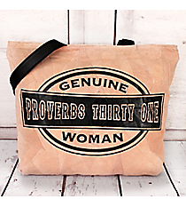 Genuine Proverbs Thirty One Woman Recycled Leather Shoulder Tote #23206