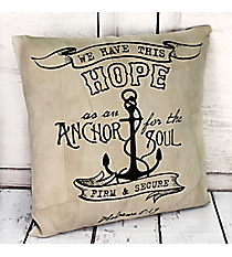 Hebrews 6:19 'Firm & Secure' Recycled Leather Throw Pillow #23207