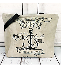 Hebrews 6:19 'Anchor For the Soul' Recycled Leather Shoulder Tote #23212