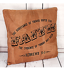 Hebrews 11:1 Recycled Leather Throw Pillow #23209