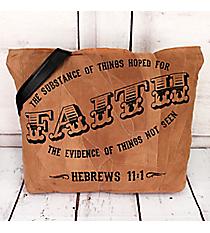 Hebrews 11:1 Recycled Leather Shoulder Tote #23210