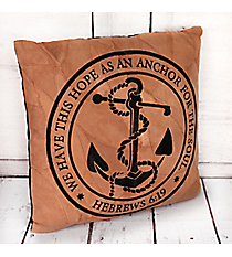 Hebrews 6:19 'Anchor For The Soul' Recycled Leather Throw Pillow #23211