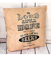 Lamentations 3:25 Recycled Leather Throw Pillow #23215