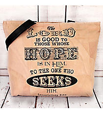 Lamentations 3:25 Recycled Leather Shoulder Tote #23216