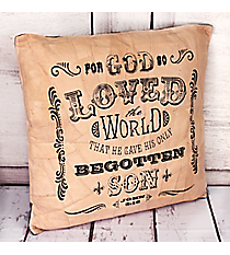John 3:16 Recycled Leather Throw Pillow #23217