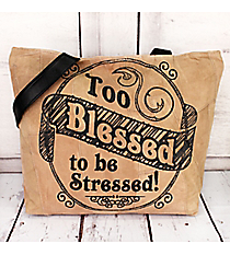 Too Blessed to be Stressed Recycled Leather Shoulder Tote #23220