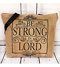 Ephesians 6:10 Recycled Leather Shoulder Tote #23222