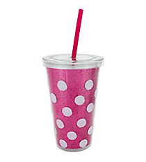 Fuchsia Polka Dots 16 oz. Double Wall Tumbler with Straw #23222