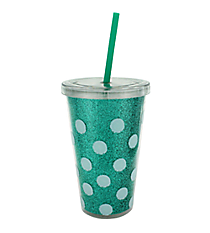 Turquoise Polka Dots 16 oz. Double Wall Tumbler with Straw #23223