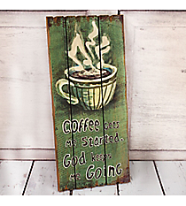 18 x 8 'Coffee Gets Me Started' Wall Decor #23441