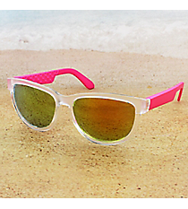 Tween's Electric Pink and Frosted Clear Sunglasses #23524