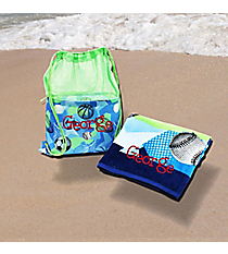 Sports Velour Beach Towel & Sling Bag Set #23536