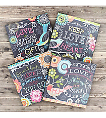Set of 4 Spring Garden Love Themed Wooden Coasters #23682