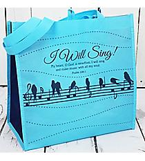 Psalm 108:1 Musical Birds Light Blue Eco Tote #23797