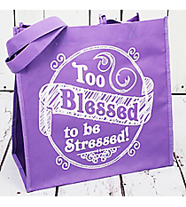 Too Blessed to be Stressed Light Purple Eco Tote #23798