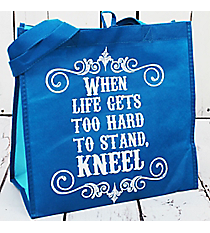 When Life Gets Too Hard To Stand, Kneel Royal Blue Eco Tote #23801