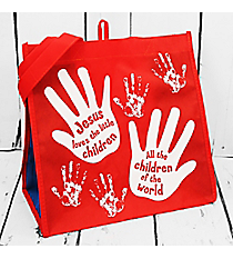 Jesus Loves the Little Children Red with White Hand Prints Eco Tote #23935