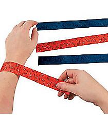 12 Cowboy Bandana Print Slap Bracelets #24/1792