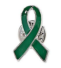One Dozen Green Ribbon Pins #24/2453