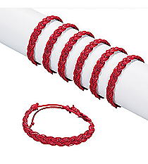 12 Burgundy Braided Friendship Bracelets #24/2705
