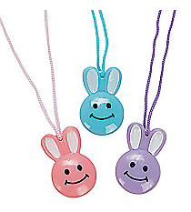 72 Vinyl Smile Face Bunny Necklaces #24/963