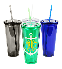Anchor Monogram 24 oz. Double Wall Tumbler with Straw #WA334005 *Choose Your Colors