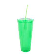 Apple Green 24 oz. Double Wall Tumbler with Straw #WA334005-AG