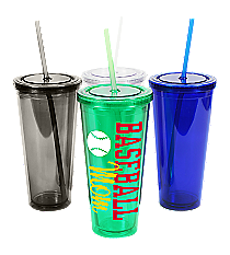 Baseball 24 oz. Double Wall Tumbler with Straw #WA334005 *Choose Your Colors