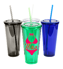Bikini with Name 24 oz. Double Wall Tumbler with Straw #WA334005 *Choose Your Colors