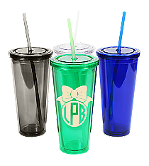 Bow Monogram 24 oz. Double Wall Tumbler with Straw #WA334005 *Choose Your Colors