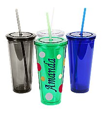 Sideways Name 24 oz. Double Wall Tumbler with Straw #WA334005 *Choose Your Colors