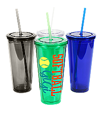 Softball 24 oz. Double Wall Tumbler with Straw #WA334005 *Choose Your Colors