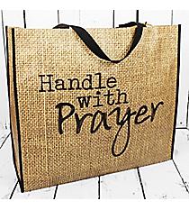 Burlap Print 'Handle with Prayer' Large Eco Tote #24019