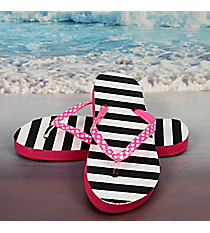 Tween's Black and White Striped Flip Flops *Choose Your Size