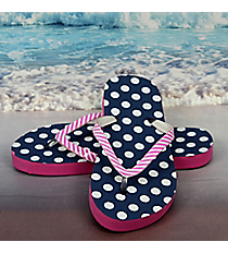 Tween's Navy and White Polka Dots Flip Flops *Choose Your Size