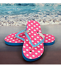 Tween's Pink and White Polka Dots Flip Flops *Choose Your Size
