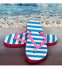 Tween's Blue and White Striped Flip Flops *Choose Your Size