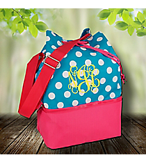 Blue Dots and Pink Bucket Tote #24216