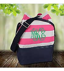 Pink Striped and Navy Bucket Tote #24217
