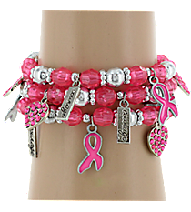 12 Pink Ribbon Stretch Charm Bracelets #24/2610