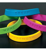 1 Rubber Inspirational Sayings Bracelet #24/1653-SHIPS ASSORTED