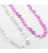 One Dozen Pink Ribbon Coin Bead Necklace #24/6112