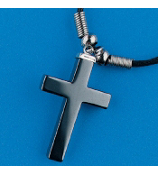 ONE DOZEN HEMATITE CROSS NECKLACES #24/614