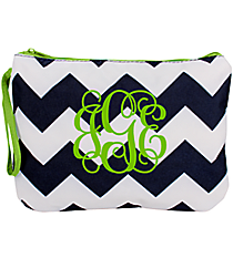 Navy and White Chevron Bikini Bag with Green Trim #35898