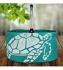 Ocean Blue Turtle Collapsible Market Basket #25949-TURTLE