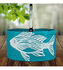 Ocean Blue Fish Collapsible Market Basket #25949-FISH