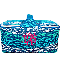 Multi-Blue Ocean Fish Insulated Basket with Lid #25950-FISH