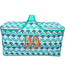 Multi-Blue Seashells Insulated Basket with Lid #25950-SHELLS