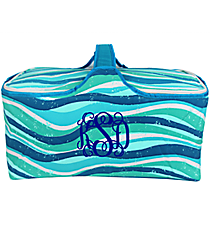 Multi-Blue Ocean Stripes Insulated Basket with Lid #25950-STRIPES