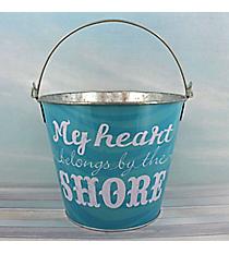 """My Heart Belongs By the Shore"" Tin Bucket #25966-SHORE"
